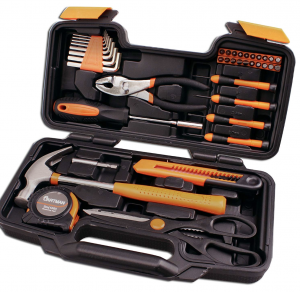 Household Hand Tool Kit with Plastic Toolbox Storage Case