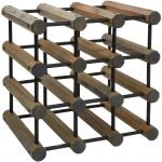 J.K. Adams Driftwood Modular Wine Rack with Black Pins (40 Bottles)