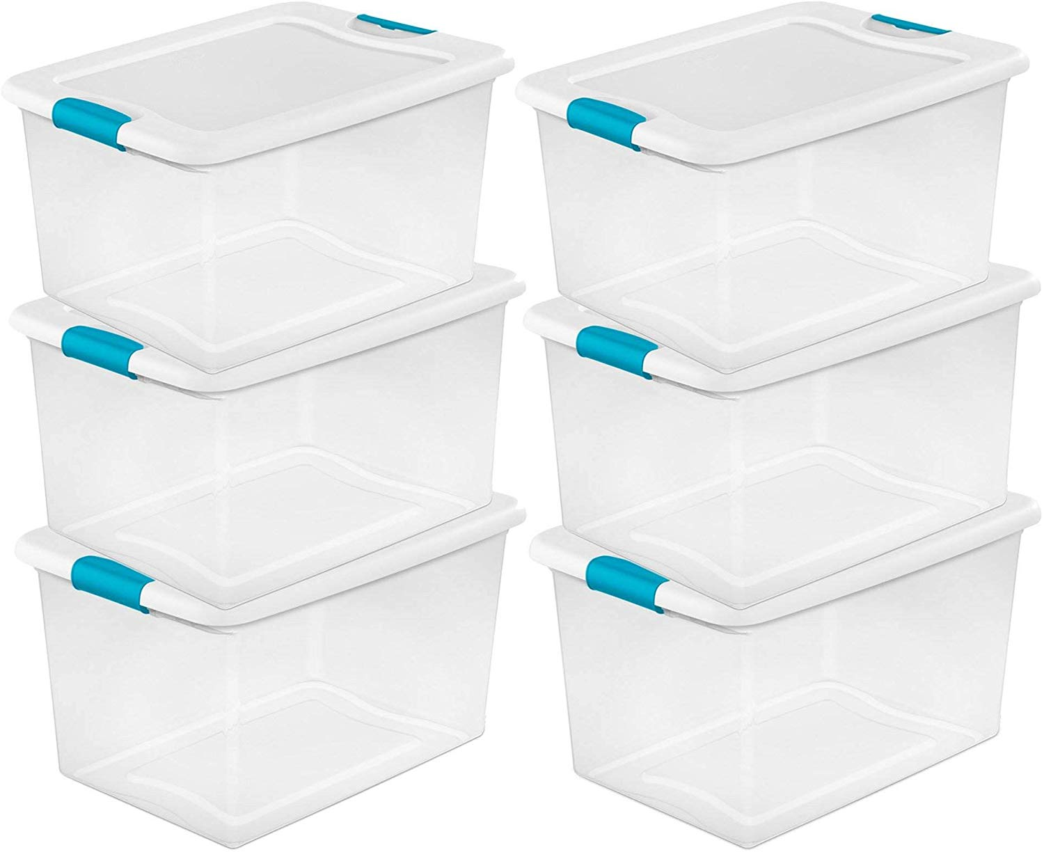 Large Clear Storage Box 23.75 Inch (Pack of 6)