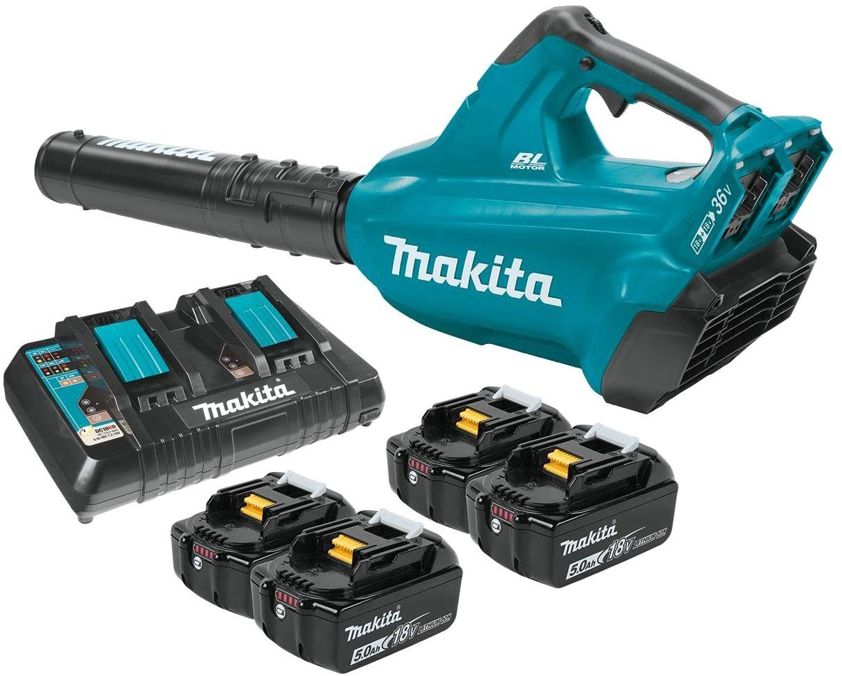 Makita cordless leaf blower with four batteries