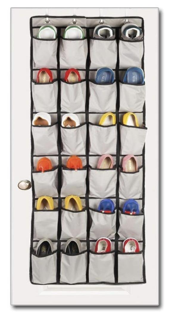Richards Arrow Gray 24-Pocket Over Door Shoe Organizer