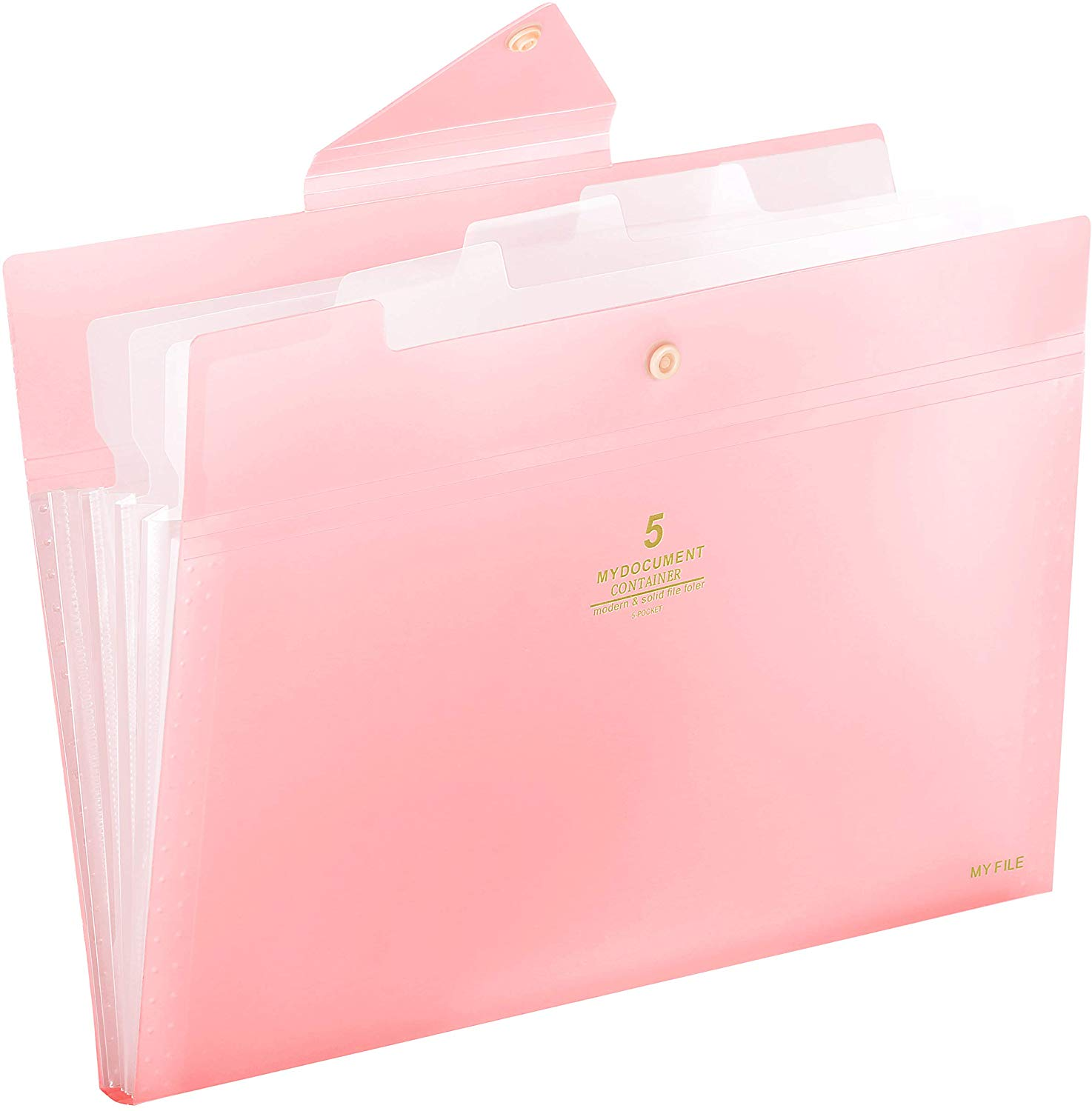 Skydue Expandable 5 Pockets File Folder with Snap Closure