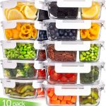 Prep Naturals Glass Storage Containers with Lids, 20 Pcs