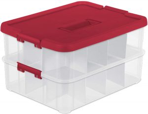 Sterilite 1427 Stack & Carry 2 Layer 24 Ornament Storage Box