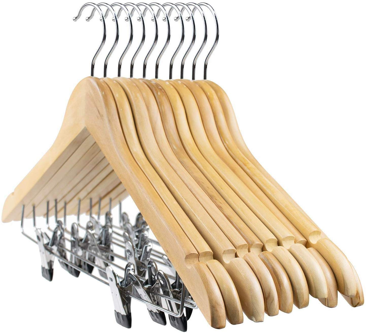 Tosnail 10-Pack Wooden Suit Hanger With Clips