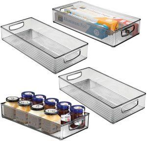 mDesign 16 inch x 8 inch Kitchen Bin (Set of 4)