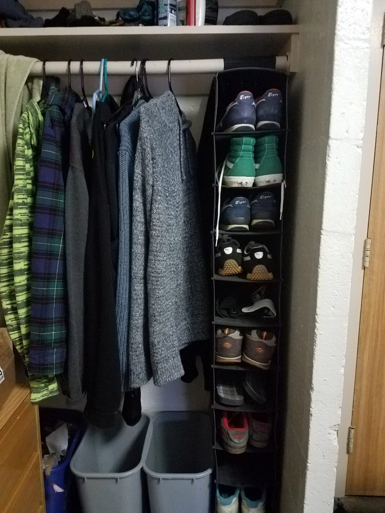Hang shoes in the closet