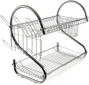 Chrome Stainless Steel 2 Tier Dish Rack
