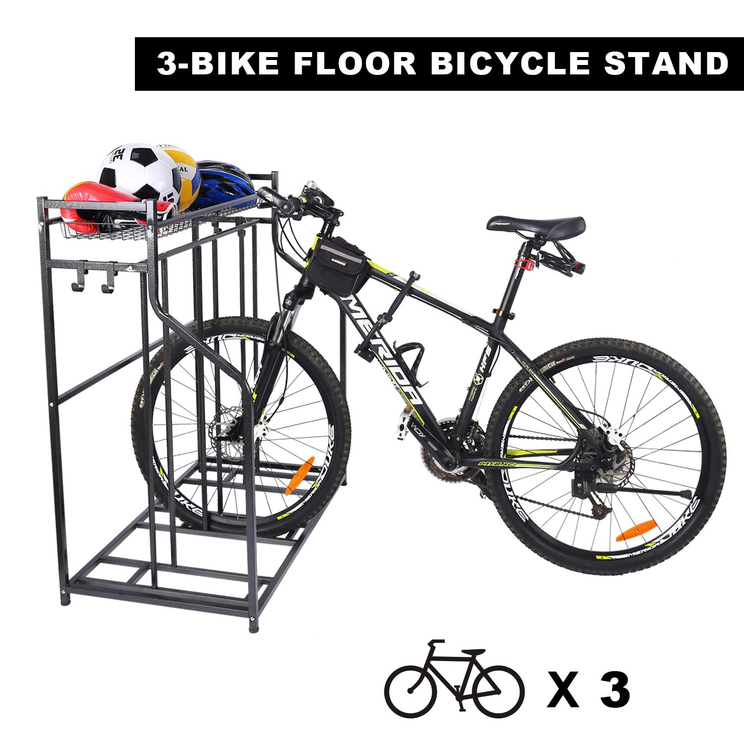 Mythinglogic Indoor Bike Rack with Baskets and 4 Hooks