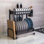 Stainless Steel Black 2 Tier Kitchen Counter Rack