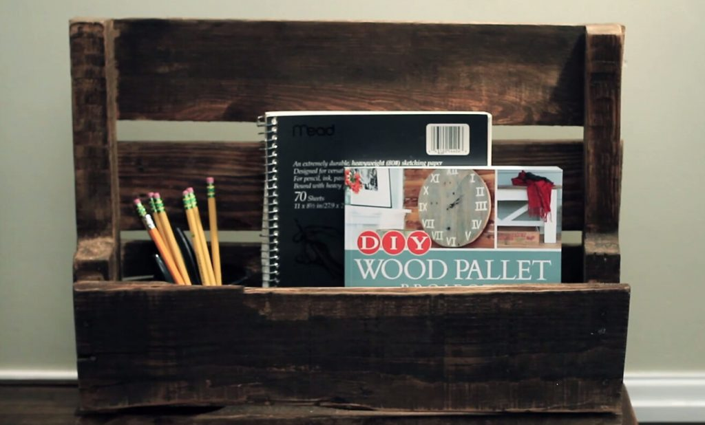 DIY Storage Shelves, Pallet Storage Shelf, Notebook, Pencils, Wood