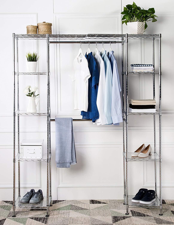 Organizer Rack Wardrobe with Shelves - Tiny House Storage Ideas