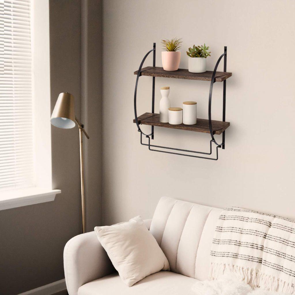 Wooden floating shelf - tiny house storage ideas