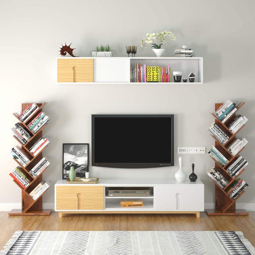 Tree bookshelf for tiny house storage ideas