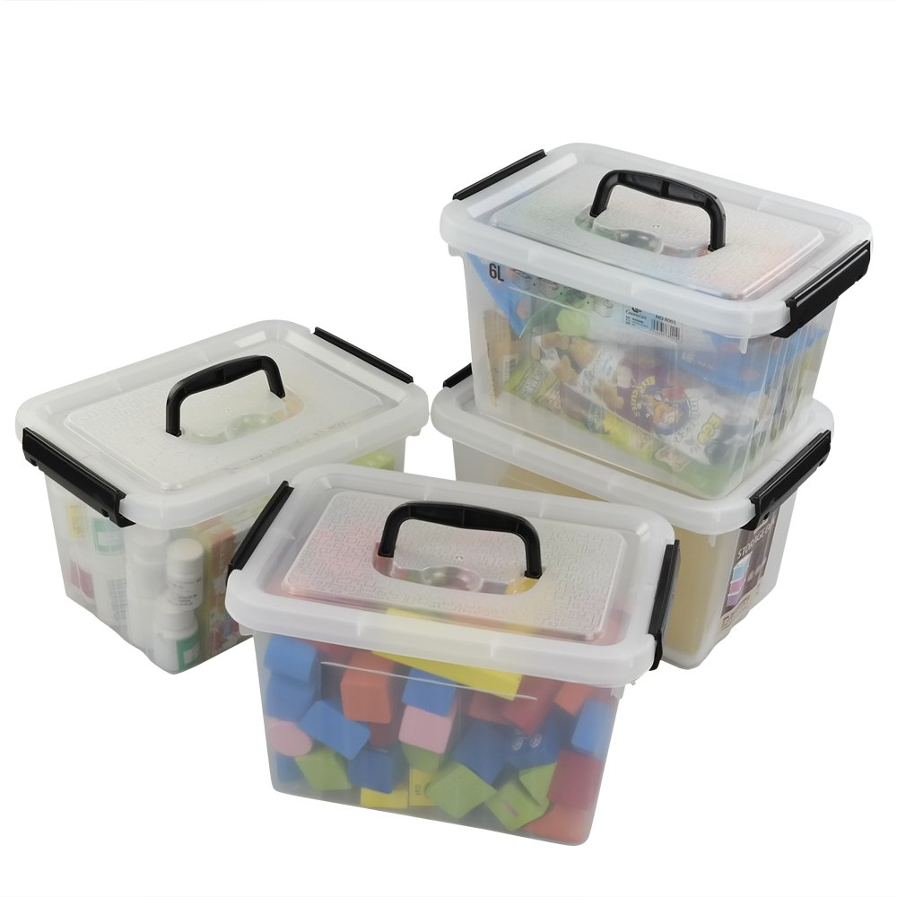 Nifty storage boxes with easy-grip handles and secure latch system