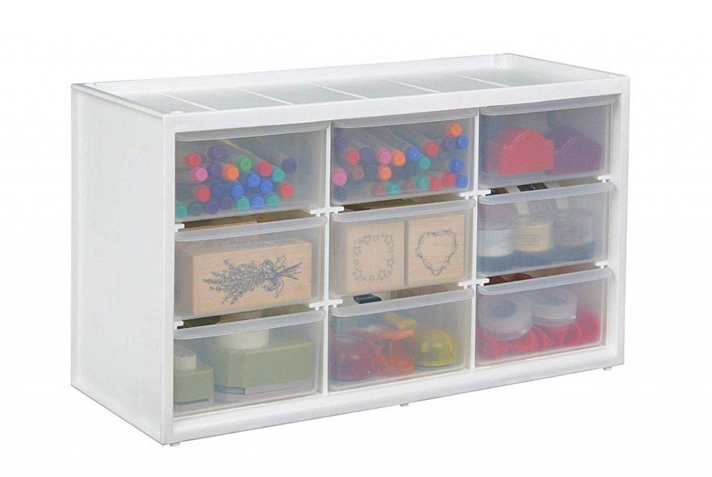 arts & crafts supplies in cube storage