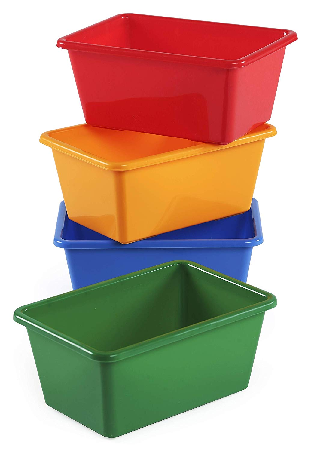 Cheap plastic storage bins for children with bright primary color design
