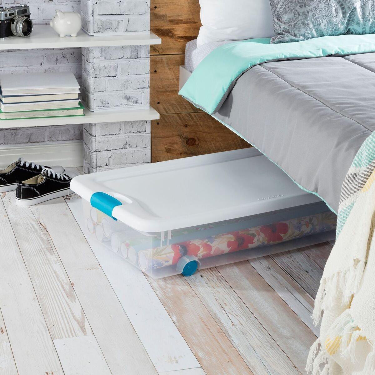 Budget-friendly plastic underbed storage