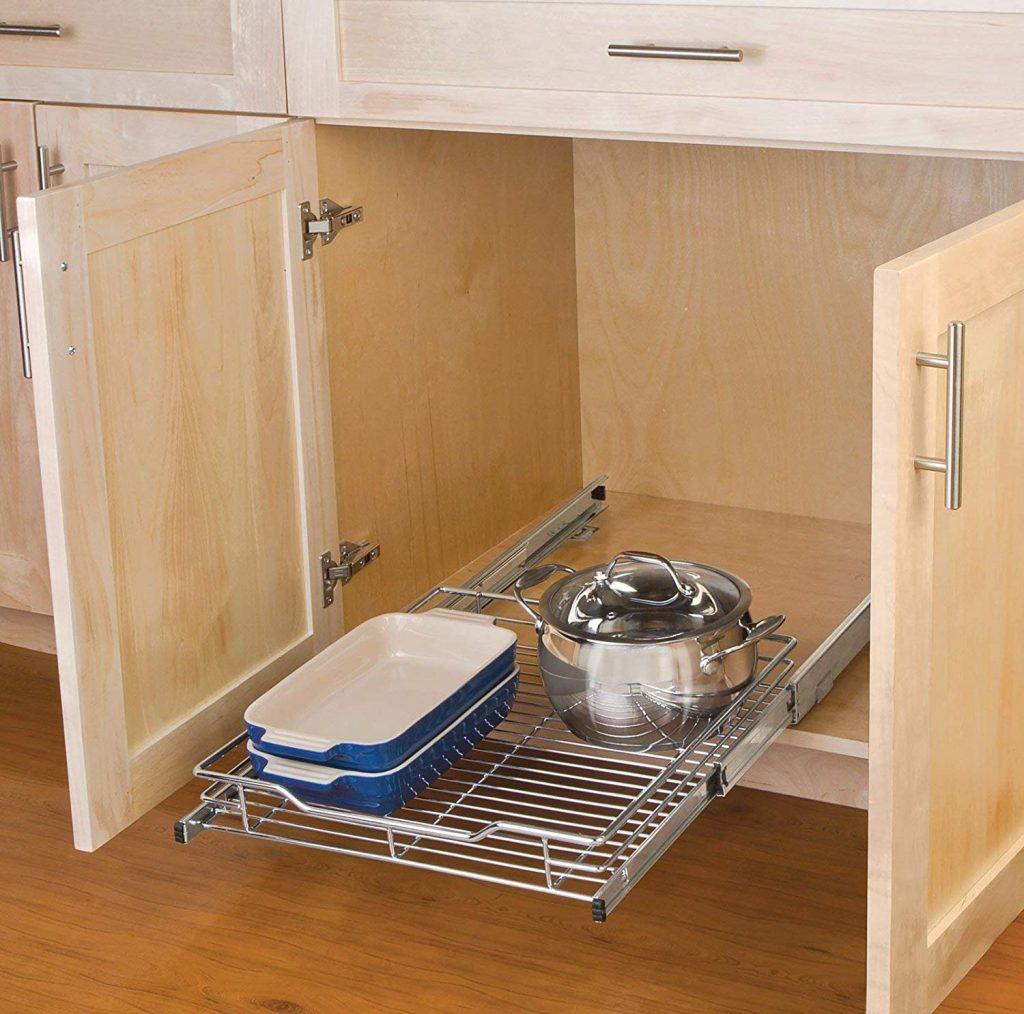 Smart Design 1-Tier Shelf Expandable Roll Out Cabinet Organizer