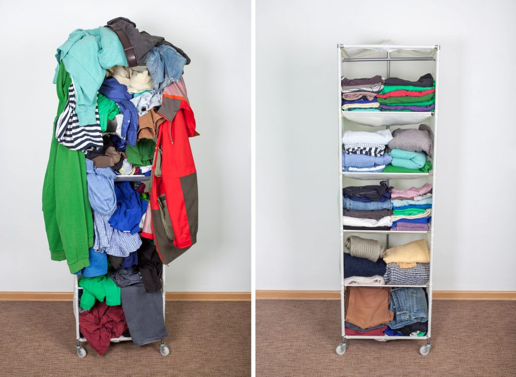 Before and after images of marie kondo tips on folding