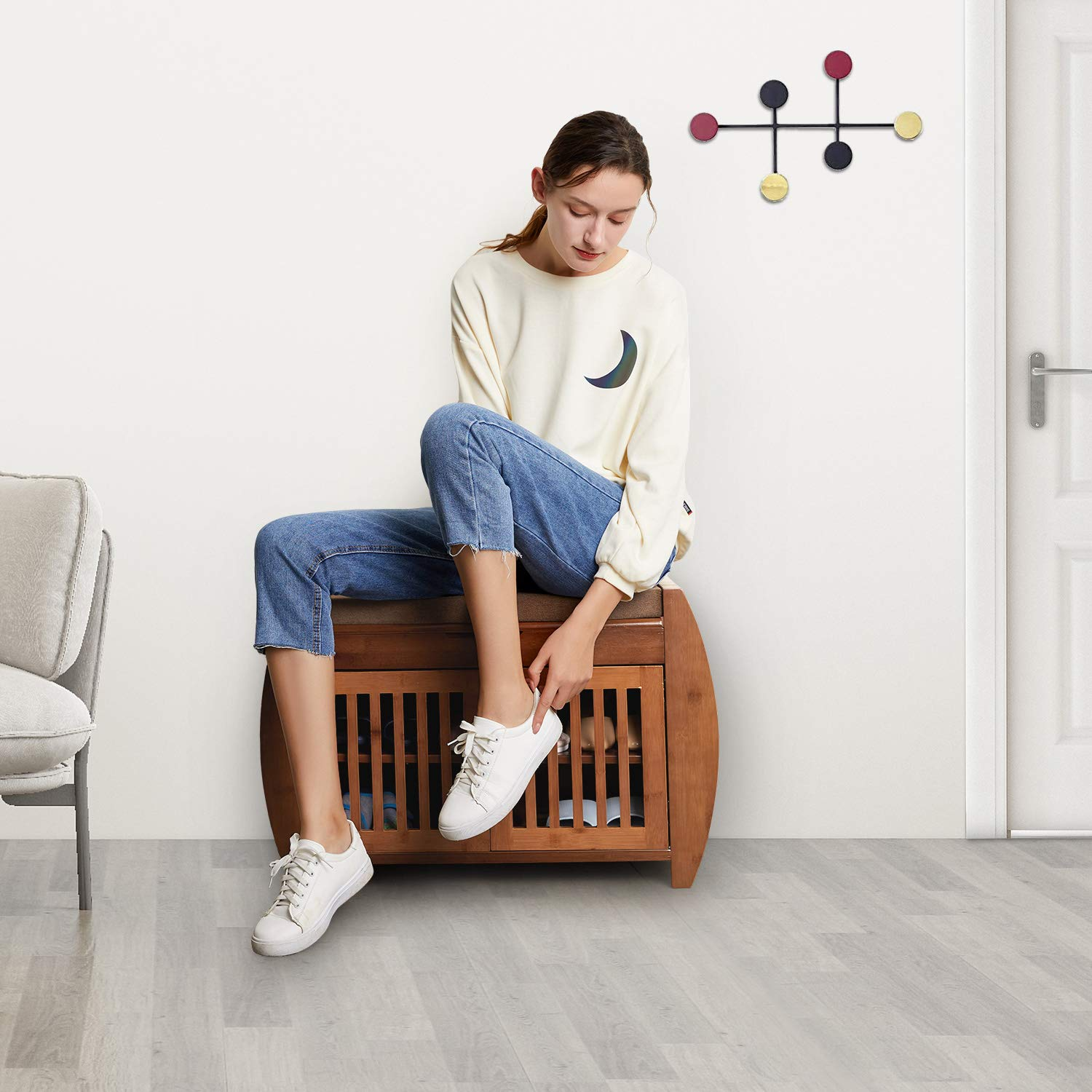 Bamboo Shoe rack & Bench with Hidden compartment