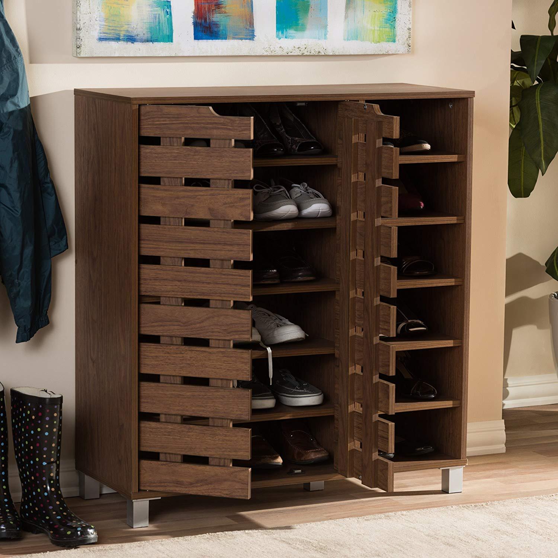 Baxton Studio Eloise Beech Wood Shoe Cabinet