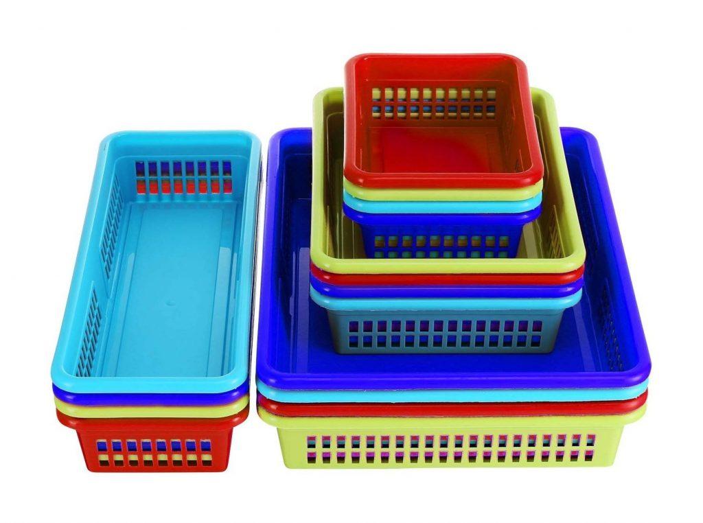DilaBee Bright Plastic Organizer Bins, 16 Pack