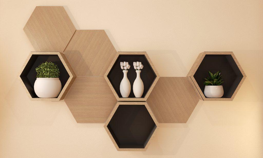 Hexagon wooden shelf japanese design on wall