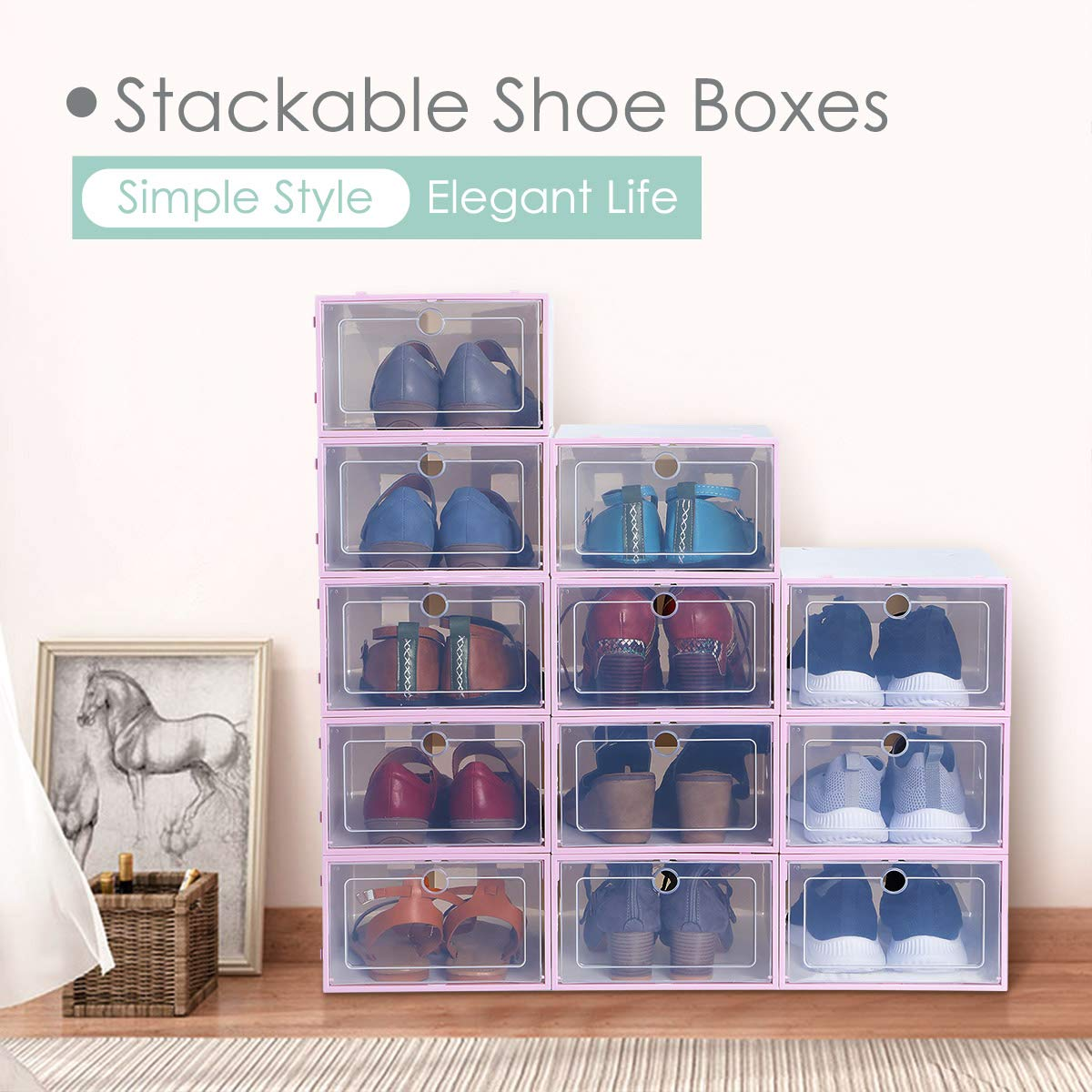 KING DO WAY Stackable Storage Shoe Box Organizer