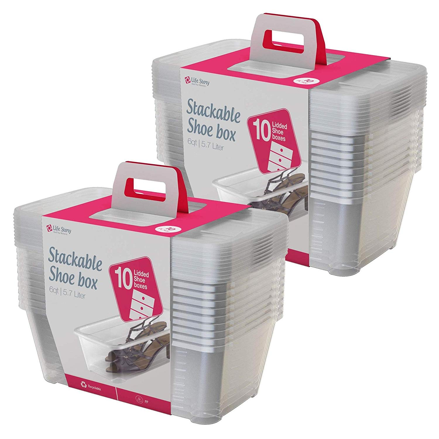 Life Story Clear Shoe Stacking Containers