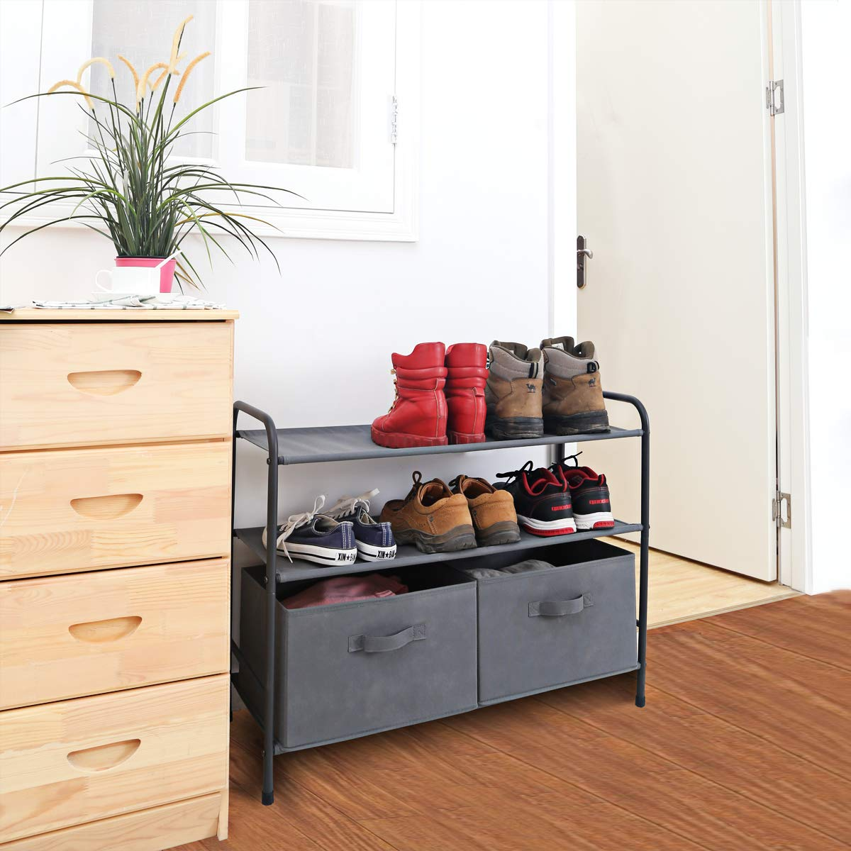 MAX Houser 3-Tiers Shoe Rack with 2 Removable Storage Bins