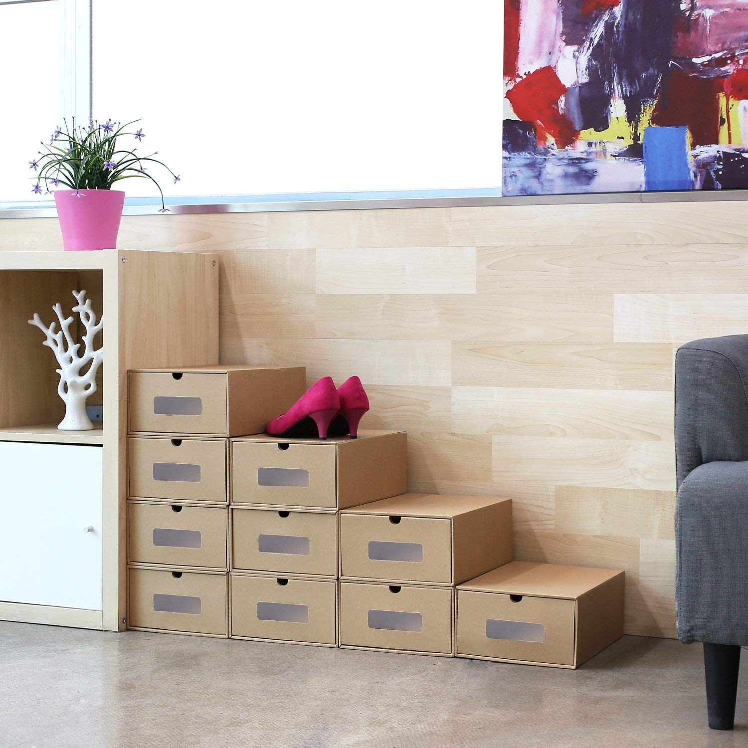 Prasacco Visible Cardboard Shoe Storage Boxes