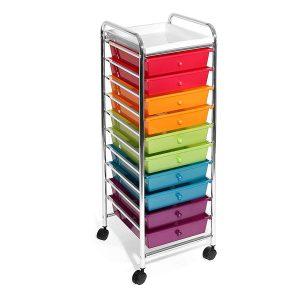 Seville Classics 10-Drawer Organizer Cart, Multicolor