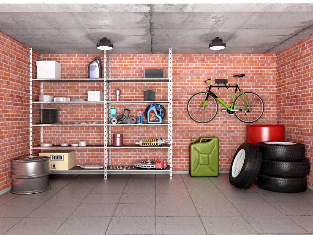 Shelves in a garage