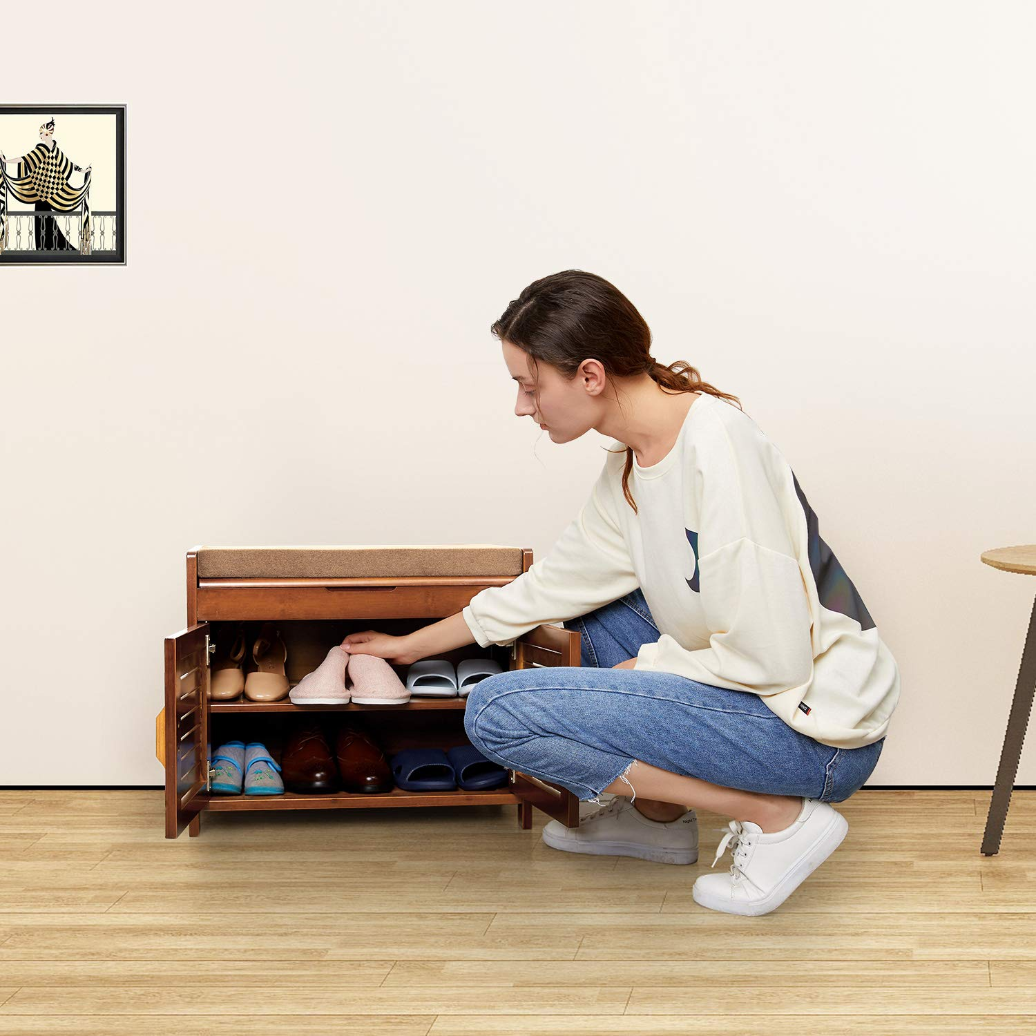 Shoe Bench & Shoe Cabinet with Hidden compartment