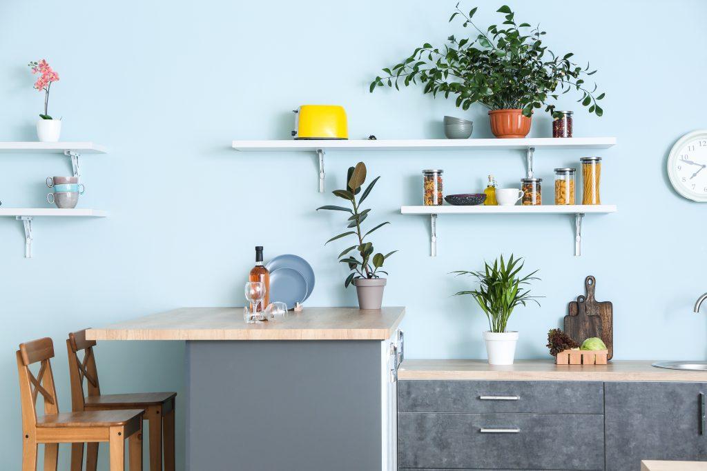 Interior design using shelf storages