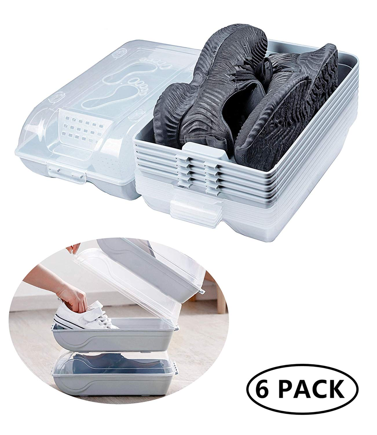 YEAVS Clear Plastic Shoe Organizers with Lids