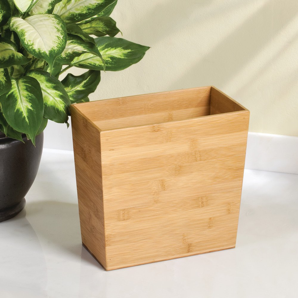 iDesign Formbu Bamboo Wood Wastebasket