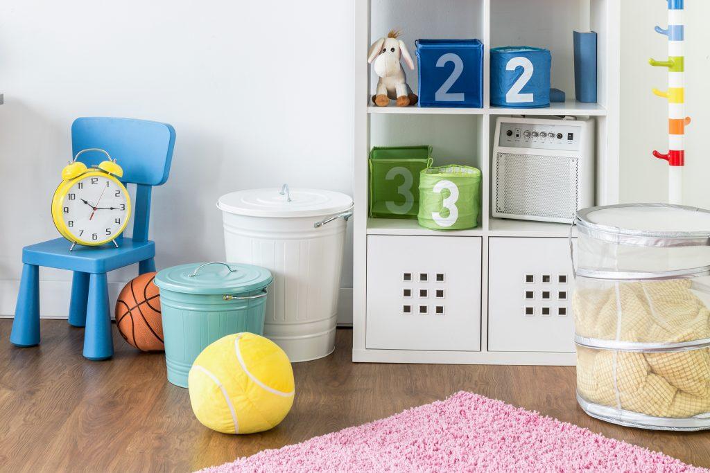Storage bins in a playroom