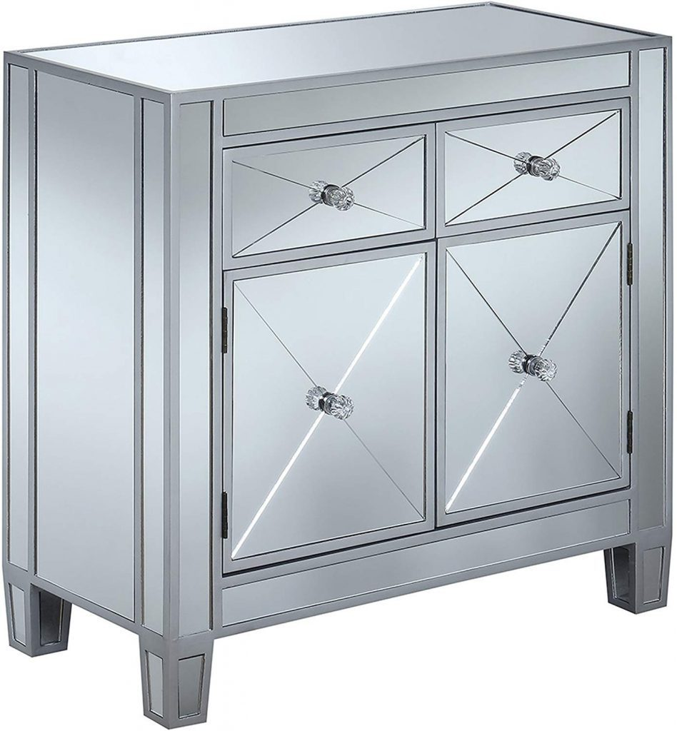 2 Drawer Mirrored Hall Table by Convenience Concepts