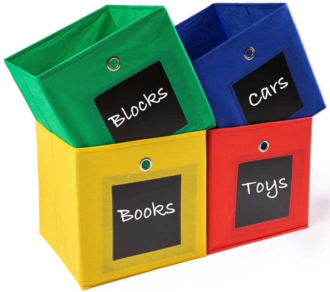 4 colorful collapsible storage bins