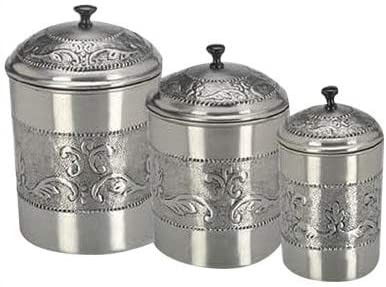 Pewter-Plated 3-Piece Embossed Steel Canister Set Silver