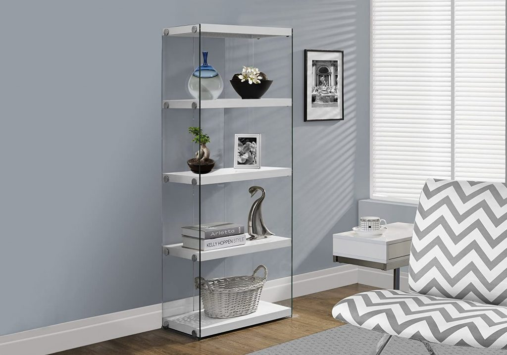 5-Shelf Etagere Bookcase Contemporary Look with Tempered Glass