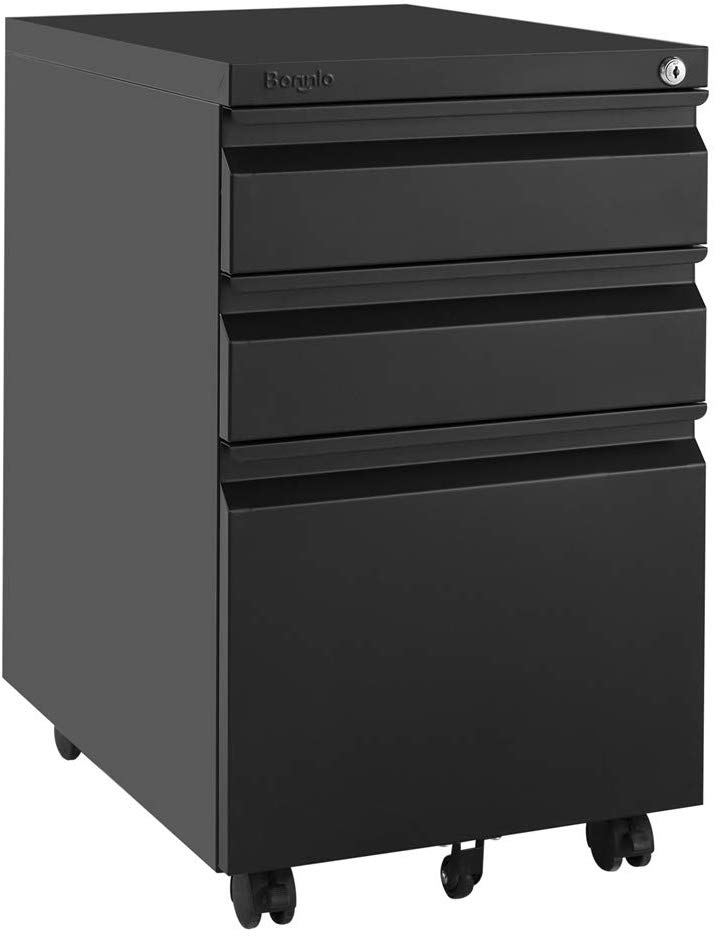 Bonnlo 3-Drawer Mobile File Cabinet with Lock