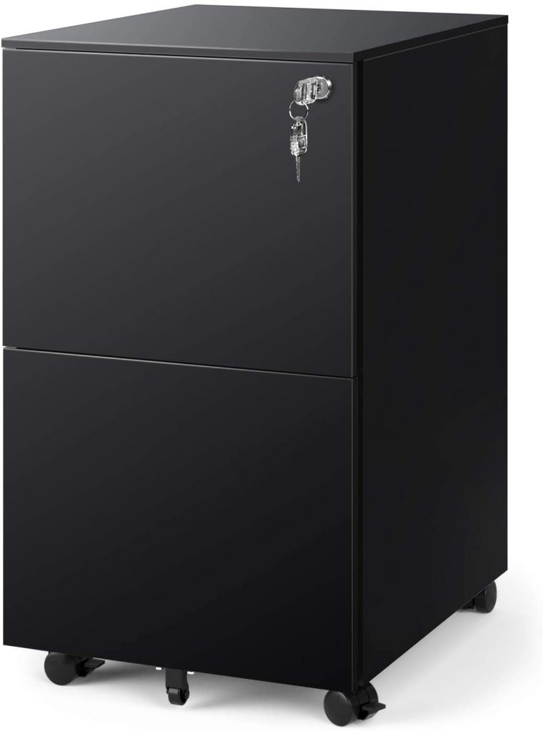 DEVAISE 2-Drawer Mobile File Cabinet with Lock