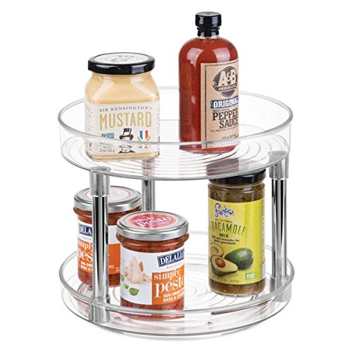 2 Tier Lazy Susan Turntable Food Storage Container for Cabinets