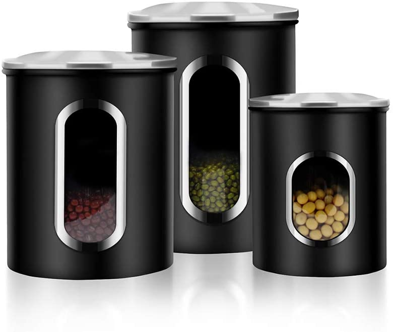 Canisters Set, 3-Piece Window Kitchen Canisters