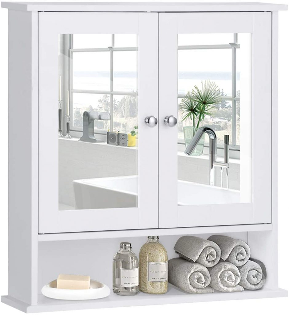 Tangkula Bathroom Cabinet, Wall Mount Storage Cabinet with Double Mirror Doors