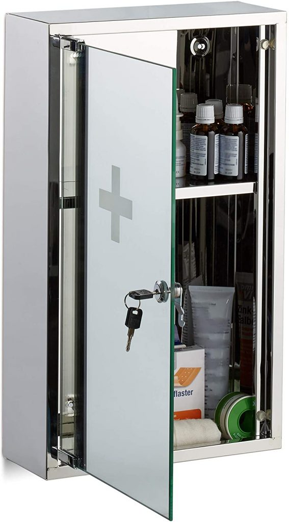 Relaxdays 10024530 Stainless Steel Medicine Cabinet