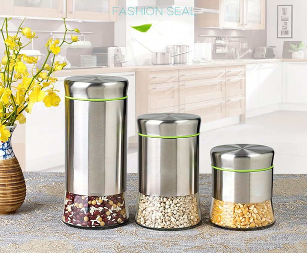 Glass and Stainless Steel Canister Set